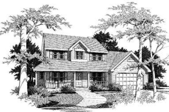 Country Exterior - Front Elevation Plan #300-101