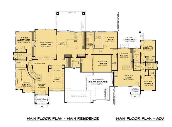 House Plan Design - Mediterranean Floor Plan - Main Floor Plan #1066-111