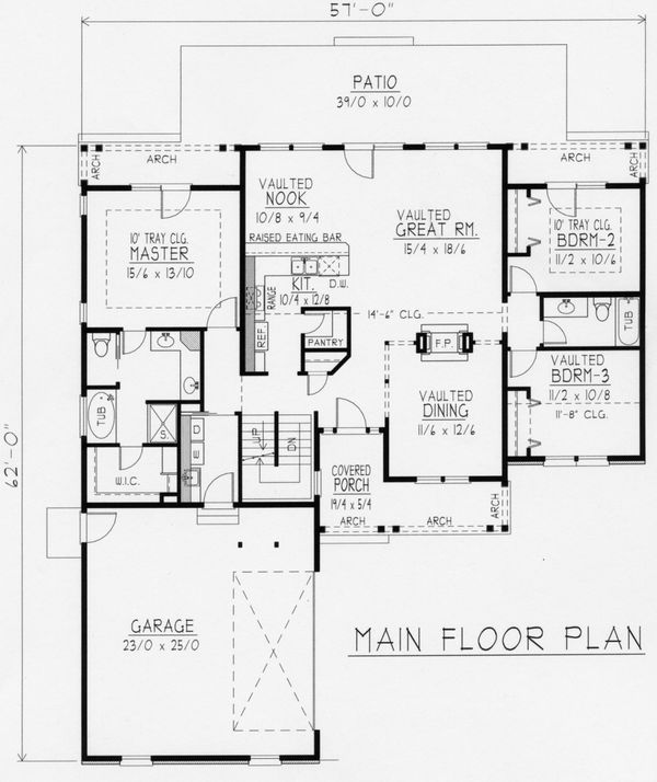 Country Floor Plan - Main Floor Plan Plan #112-163