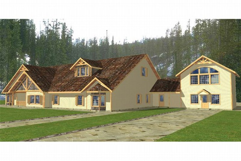 Country Style House Plan - 15 Beds 16 Baths 6619 Sq/Ft Plan #117-265 Exterior - Front Elevation