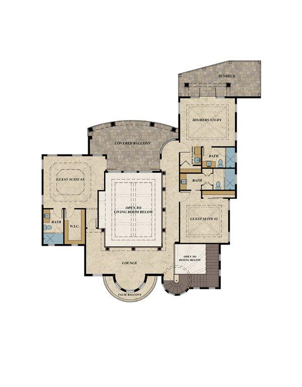 Mediterranean Floor Plan - Upper Floor Plan Plan #548-18