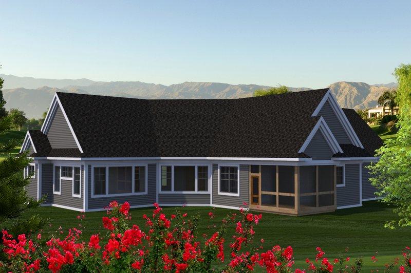 Country Exterior - Rear Elevation Plan #70-1225 - Houseplans.com