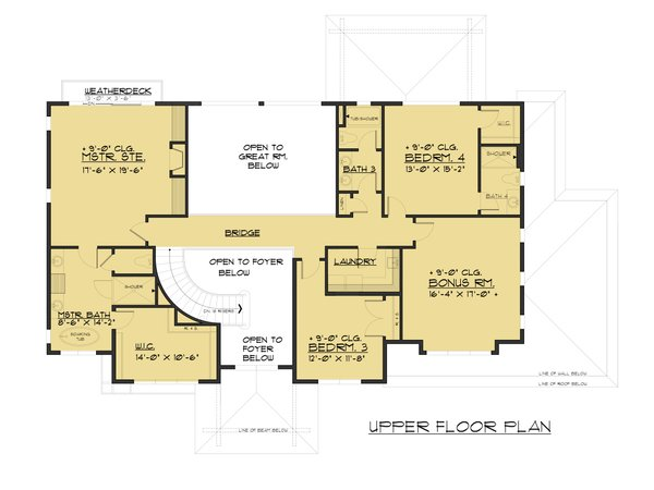 Prairie Floor Plan - Upper Floor Plan Plan #1066-94