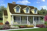 Colonial Style House Plan - 3 Beds 2.5 Baths 1560 Sq/Ft Plan #312-447 Exterior - Front Elevation