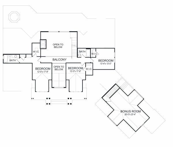 Traditional Floor Plan - Upper Floor Plan Plan #417-410