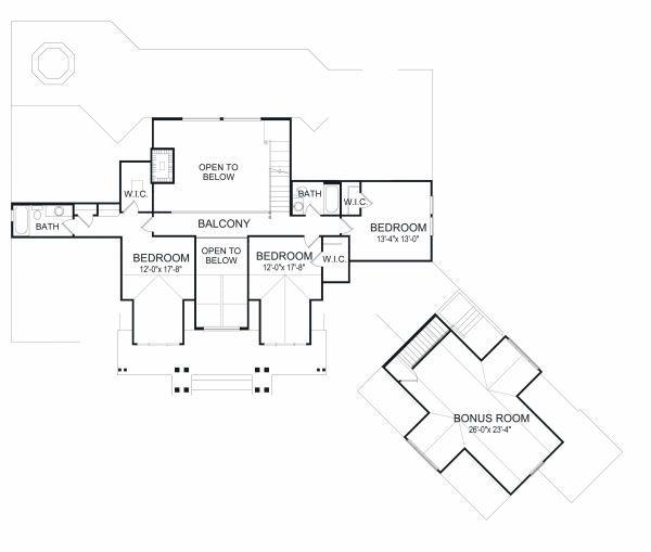 Traditional Floor Plan - Upper Floor Plan Plan #417-410