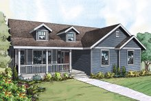Dream House Plan - Ranch style country home elevation