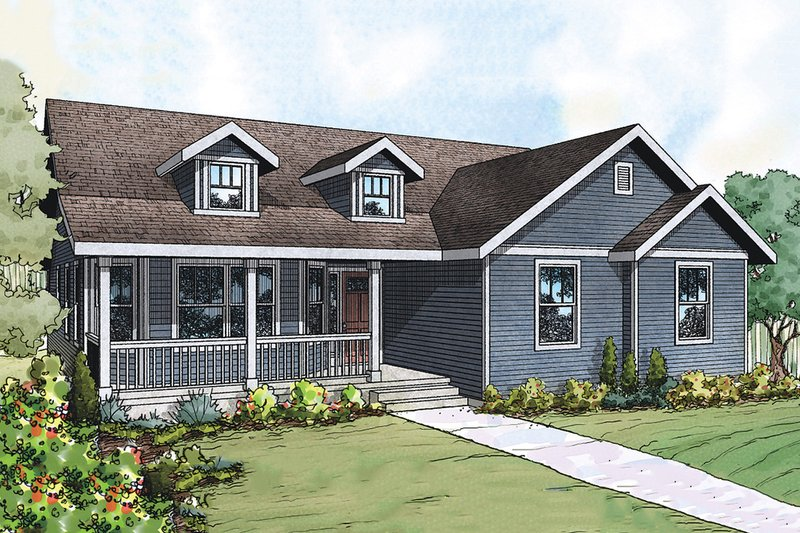 House Plan Design - Ranch style country home elevation