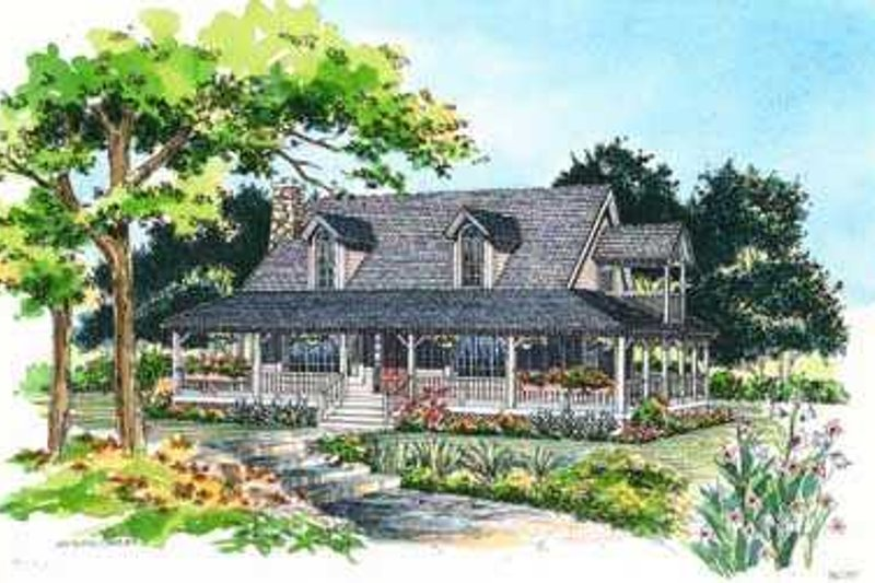 House Blueprint - Country Exterior - Front Elevation Plan #72-107