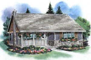 Cottage Exterior - Front Elevation Plan #18-1052