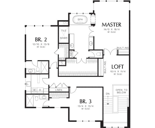 Contemporary Floor Plan - Upper Floor Plan Plan #48-255