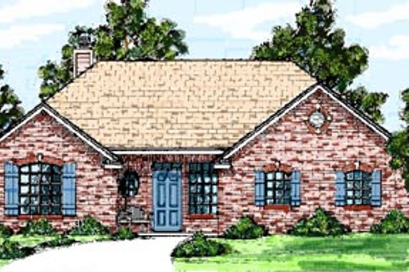 Traditional Style House Plan - 3 Beds 2 Baths 1372 Sq/Ft Plan #52-106 Exterior - Front Elevation