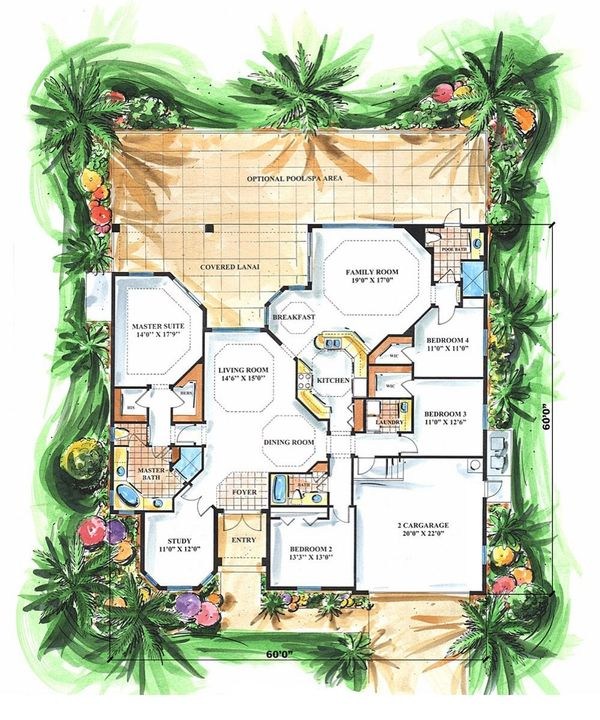 Mediterranean Floor Plan - Main Floor Plan Plan #27-256