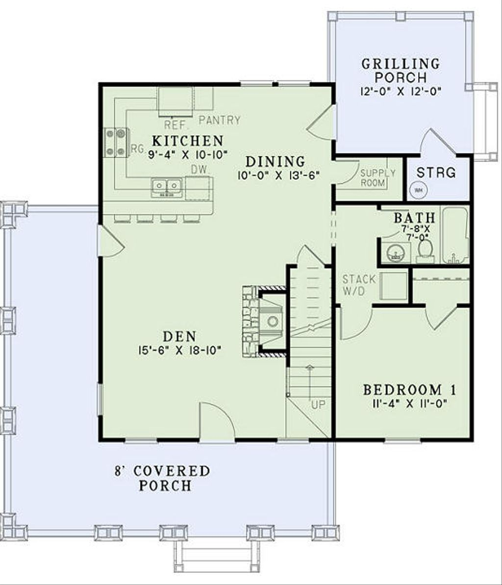 Craftsman style house plan 3 beds 2 baths 1374 sq ft for Style o bedroom sax