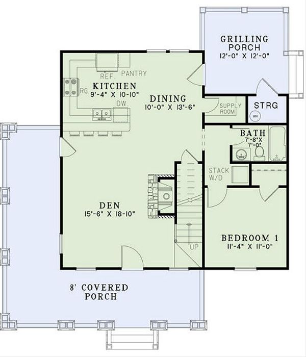 Home Plan - charming rustic cottage plan includes a front porch, 3 bedrooms and 2.5 bathrooms