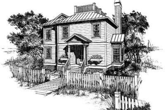 Southern Exterior - Front Elevation Plan #322-125