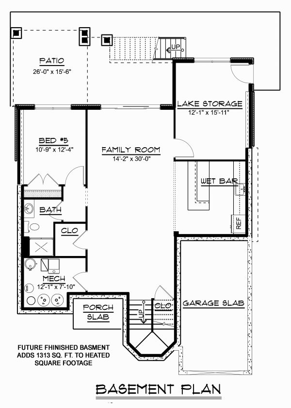 Craftsman Floor Plan - Lower Floor Plan Plan #1064-13