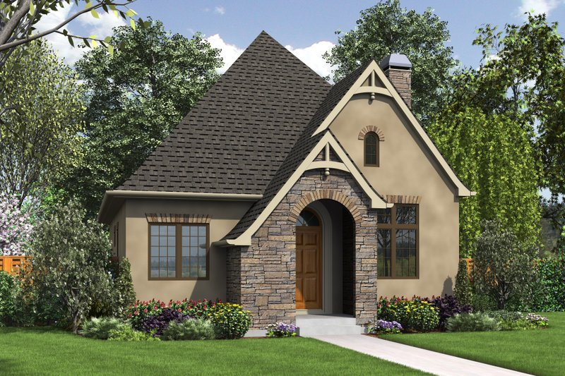 European Style House Plan - 1 Beds 1 Baths 960 Sq/Ft Plan #48-1012 Exterior - Front Elevation
