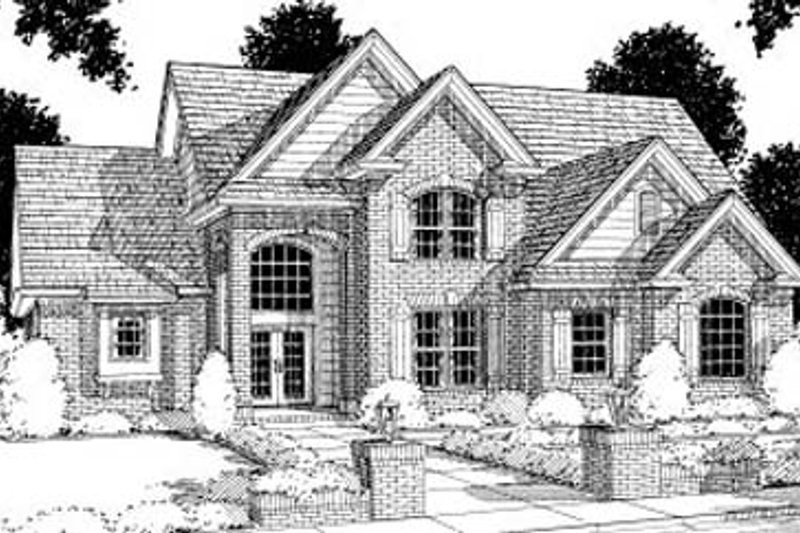 European Exterior - Front Elevation Plan #20-198