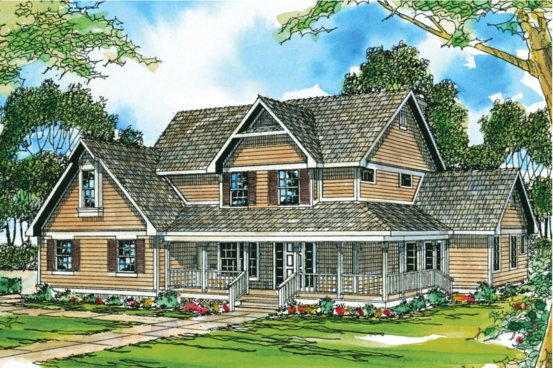 Farmhouse Exterior - Front Elevation Plan #124-193 - Houseplans.com