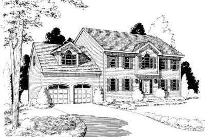 Colonial Style House Plan - 4 Beds 2 Baths 2717 Sq/Ft Plan #75-127 Exterior - Front Elevation