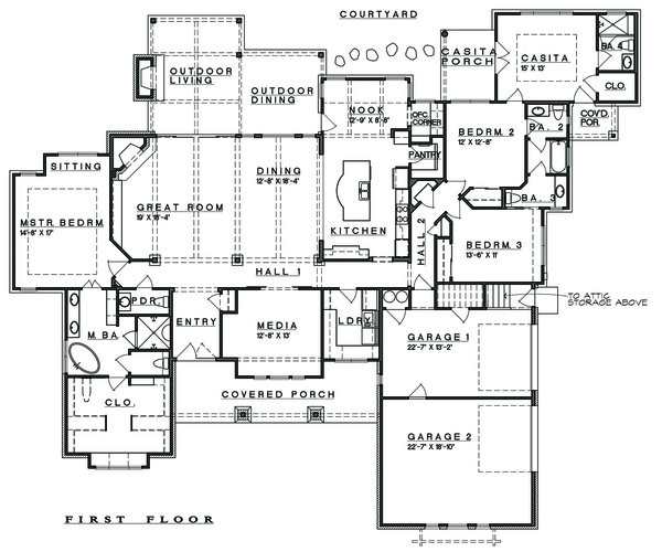 Ranch Floor Plan - Main Floor Plan Plan #935-6