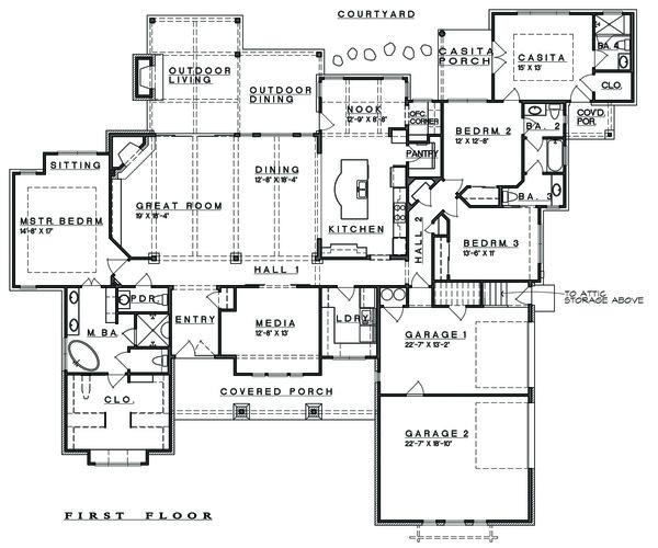 Ranch Floor Plan - Main Floor Plan Plan #935-6