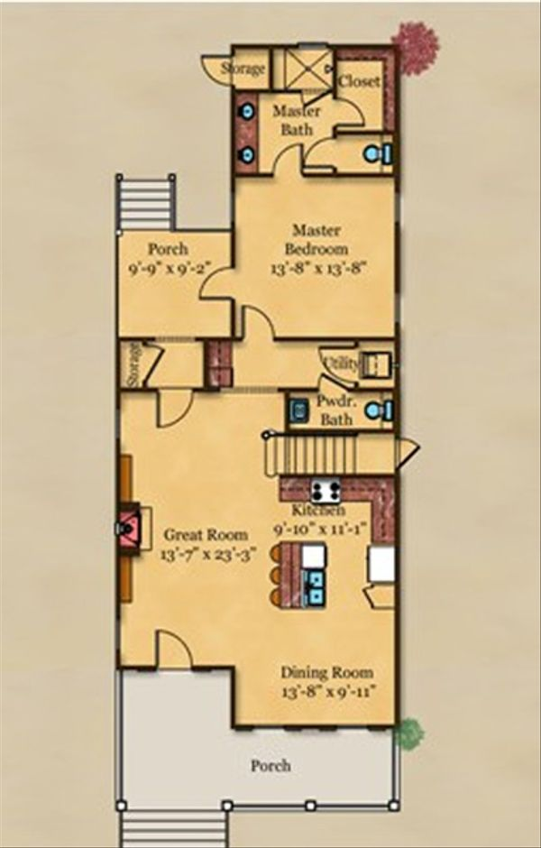 Beach Floor Plan - Main Floor Plan Plan #442-4