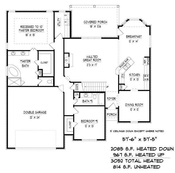 Traditional Floor Plan - Main Floor Plan Plan #424-423