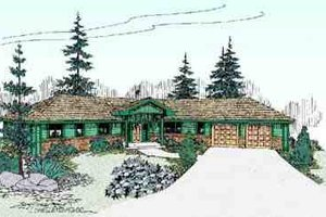 Home Plan Design - Ranch Exterior - Front Elevation Plan #60-620