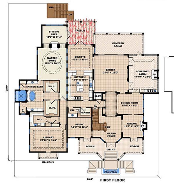 Beach Floor Plan - Main Floor Plan #27-480
