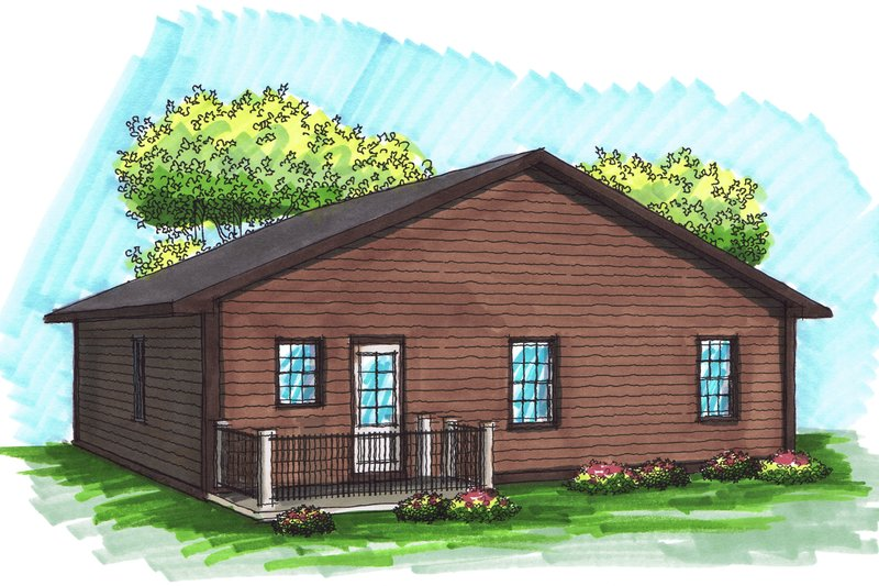 Ranch Exterior - Rear Elevation Plan #70-1016 - Houseplans.com