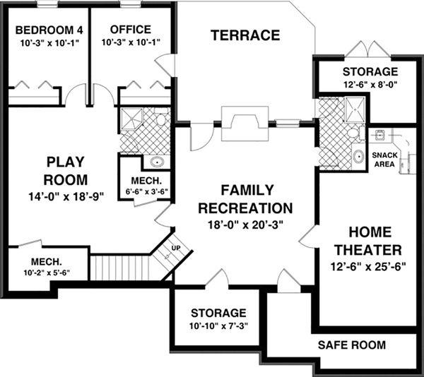 Craftsman Floor Plan - Lower Floor Plan Plan #56-628