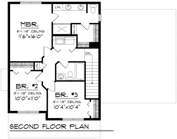 Traditional Floor Plan - Upper Floor Plan Plan #70-1160