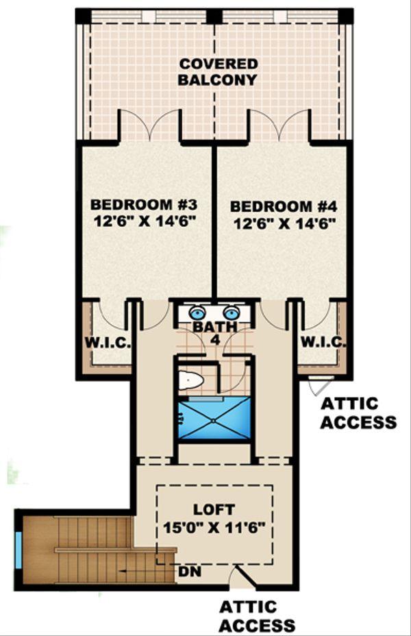 Mediterranean Floor Plan - Upper Floor Plan Plan #27-429