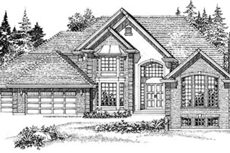 European Style House Plan - 4 Beds 3.5 Baths 4530 Sq/Ft Plan #47-340 Exterior - Front Elevation