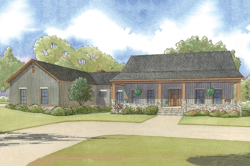 Architectural House Design - Country Exterior - Front Elevation Plan #923-49