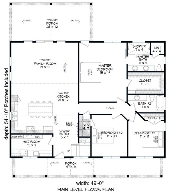 Country Floor Plan - Main Floor Plan Plan #932-87
