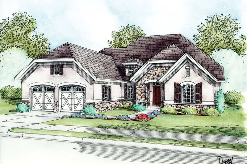 European Style House Plan - 1 Beds 2 Baths 1777 Sq/Ft Plan #20-2145 Exterior - Front Elevation