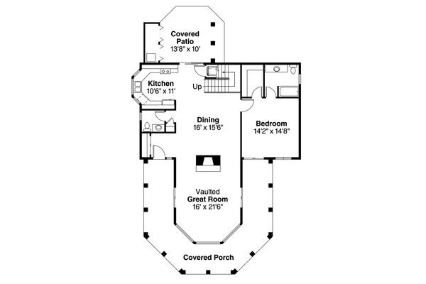 Mediterranean Floor Plan - Main Floor Plan Plan #124-1074