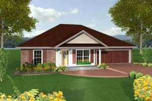 Southern Exterior - Front Elevation Plan #44-136