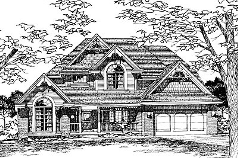 Traditional Style House Plan - 4 Beds 2.5 Baths 2353 Sq/Ft Plan #20-203 Exterior - Front Elevation