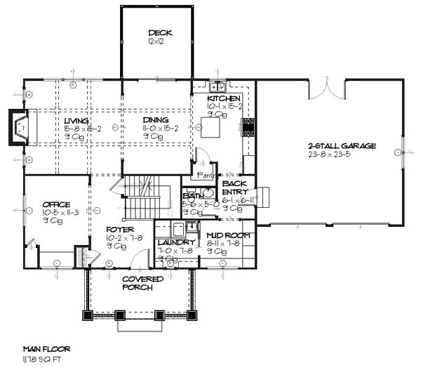 Traditional Floor Plan - Main Floor Plan Plan #901-24