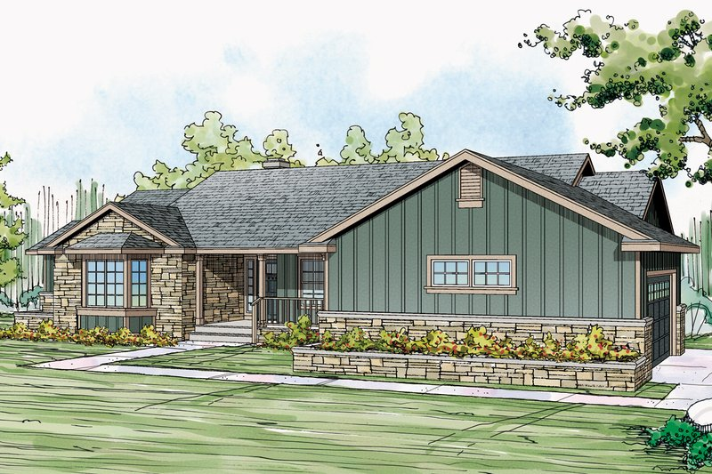 Ranch Exterior - Front Elevation Plan #124-1073