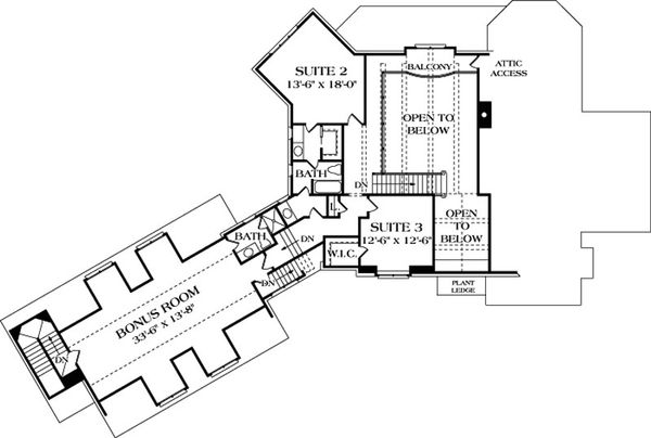 European Floor Plan - Upper Floor Plan Plan #453-42