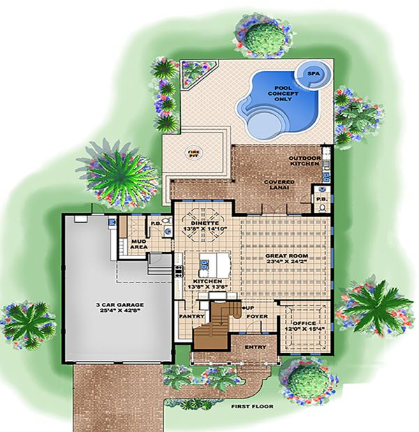 Beach Floor Plan - Main Floor Plan #27-517