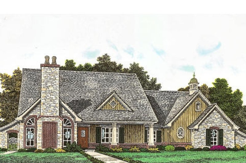 European Exterior - Front Elevation Plan #310-958