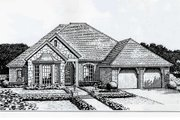 European Style House Plan - 4 Beds 3 Baths 2081 Sq/Ft Plan #310-214 Exterior - Front Elevation