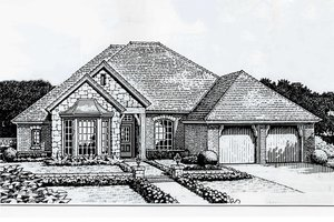 European Exterior - Front Elevation Plan #310-214