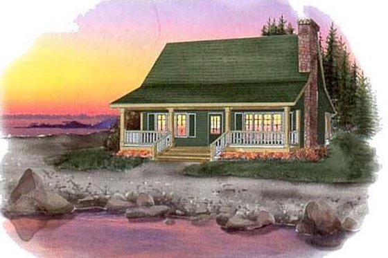 Cottage Exterior - Front Elevation Plan #409-107